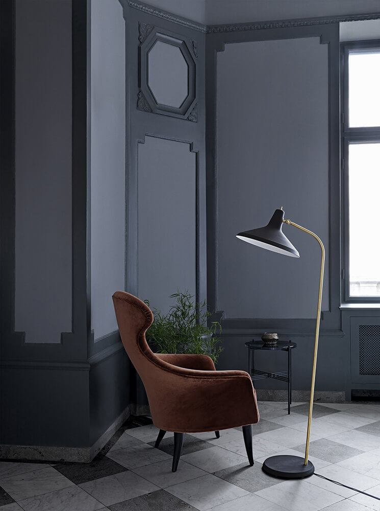 Eva chair - velluto di cotone 641  g10 floor lamp - matt black ts table 40 - granite black