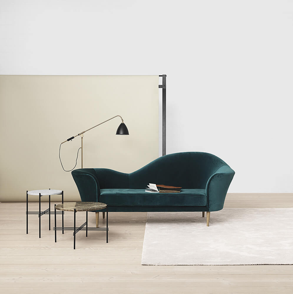 Grand piano sofa - petroleum velvet bestlite bl4 floor lamp - charcoal black-brass ts table - white and brown marble