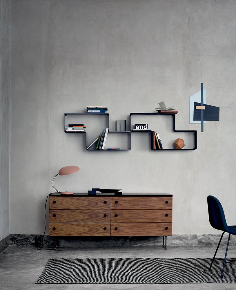 Grossman dresser 6 - walnut-black cobra table lamp - vintage red dedal bookshelves - black gubi chair