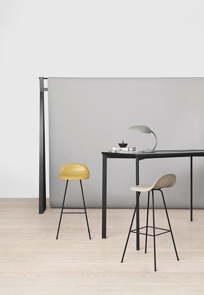 Gubi 3fa stools - venetian gold and white cloud y! bar table - black linoleum cobra table lamp - blue-grey