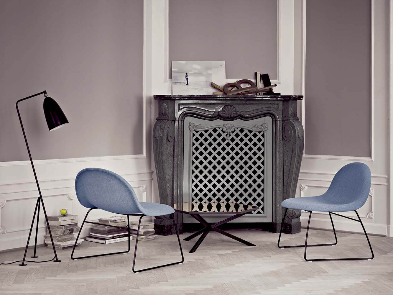 Gubi lounge chairs upholstered with tonus colour 627 grey-blue - sledge base grashoppa floor lamp - jet black