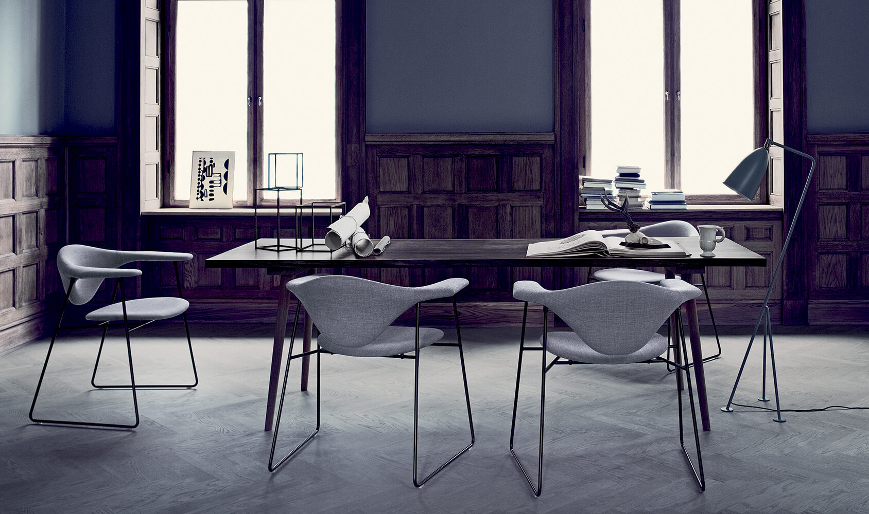 Masculo chair - remix 123 grashoppa floor lamp - anthracite grey