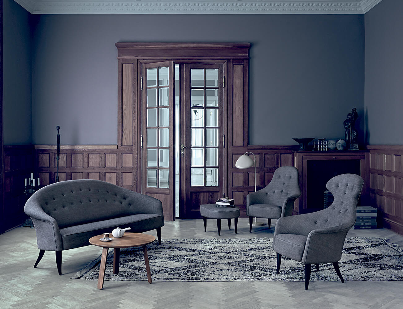 Paradiset sofa adam chair eva chair fig leaf footrest remix 2 152 paper table walnut cobra floor lamp warm grey
